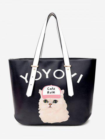 Trendy Print Letter Cat Shoulder Bag - BLACK  Mobile