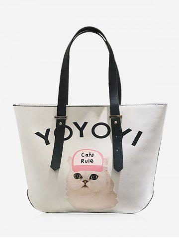 Shop Print Letter Cat Shoulder Bag