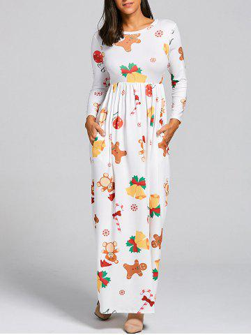 Shop Christmas Snowflake Bell Bear Print Maxi Dress WHITE M