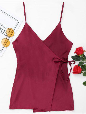 Unique Wrap Satin Slip Dress - S WINE RED Mobile