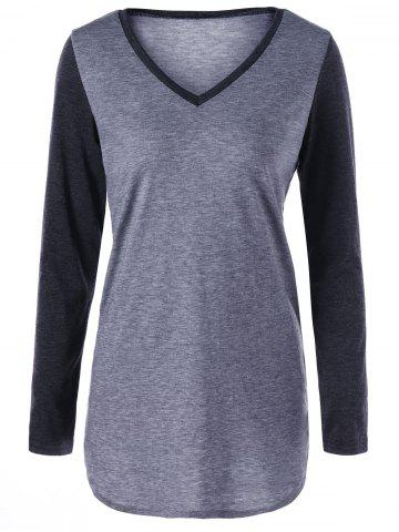Cheap Two Tone V Neck Top