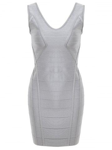 Online V Neck Sleeveless Club Bandage Dress GRAY S
