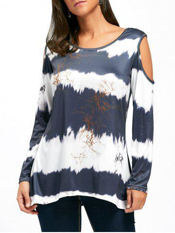 New Long Sleeve Cold Shoulder Printed Tunic Top