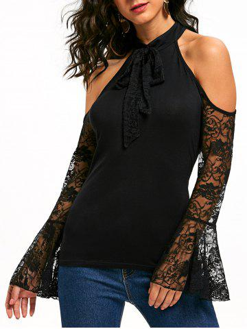 Buy Bowknot Lace Flare Sleeve Cold Shoulder Top