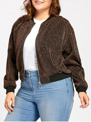 Cheap Plus Size Zip Up Sparkly  Bomber Jacket GOLD BROWN 3XL