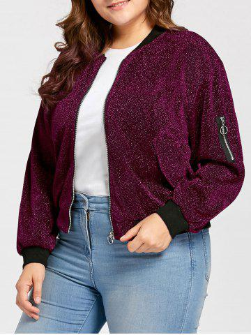 Best Plus Size Zip Up Sparkly  Bomber Jacket - 2XL PURPLE Mobile