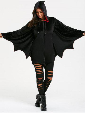 Latest Halloween Bat Wing Wave Cut Zip Up Hoodie - 2XL BLACK Mobile