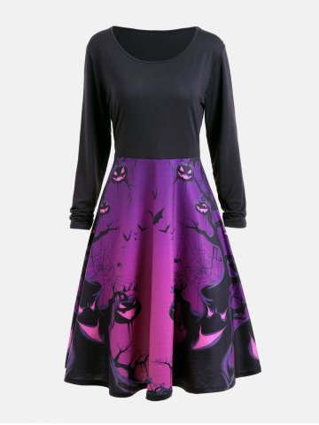 Outfits Halloween Ghost Print Long Sleeve Flare Dress PURPLE L