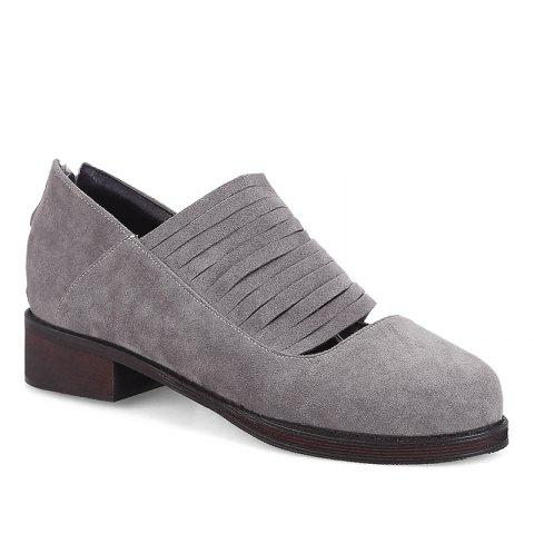 Outfits Hollow Out Low Heel Fringe Flat Shoes GRAY 37