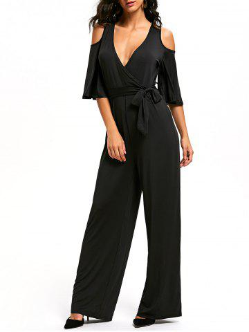 Latest Cold Shoulder Low Cut Surplice Jumpsuit BLACK S