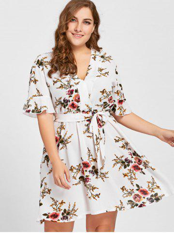 Chic Floral Plus Size Belted Short Dress