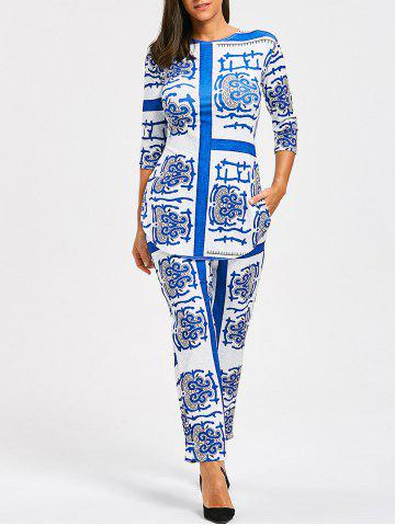 Cheap Porcelain Print Slit Tee with Pants