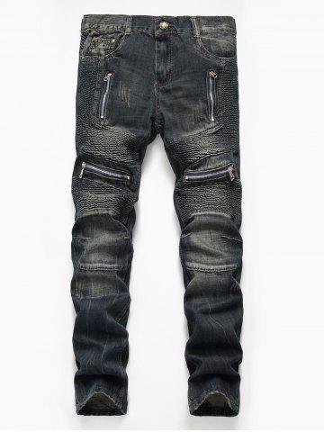 Zip Design Straight Leg Biker Jeans