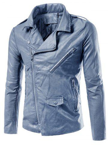 Asymmetrical Zip Faux Leather Biker Jacket
