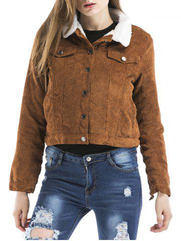 Button Down Cropped Suede Jacket
