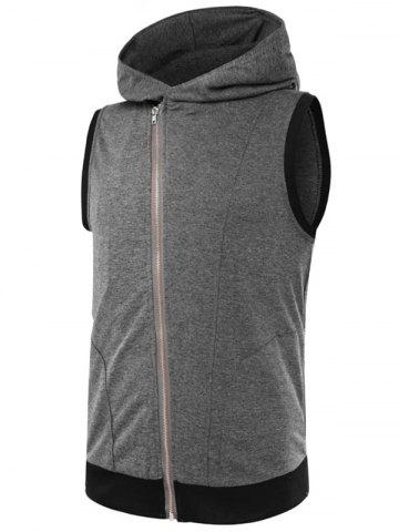 Fancy Two Tone Asymmetrical Zip Up Hooded Vest