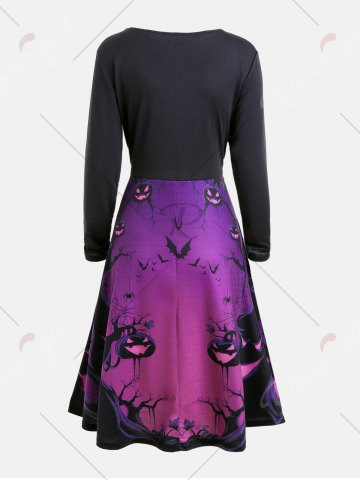 71 Off Halloween Ghost Print Long Sleeve Flare Dress