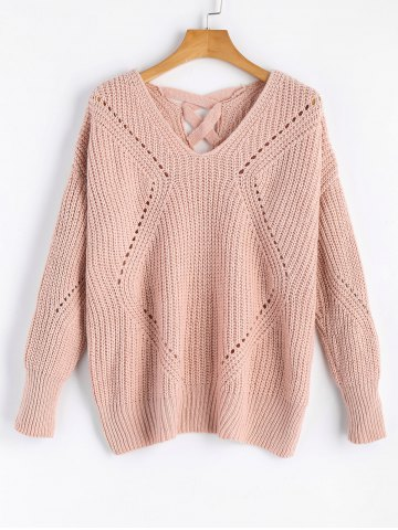 Cheap V Neck Criss Cross Sheer Sweater