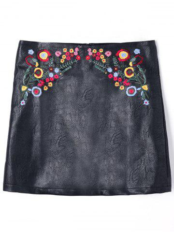 Online PU Leather Floral Embroidered Mini Skirt