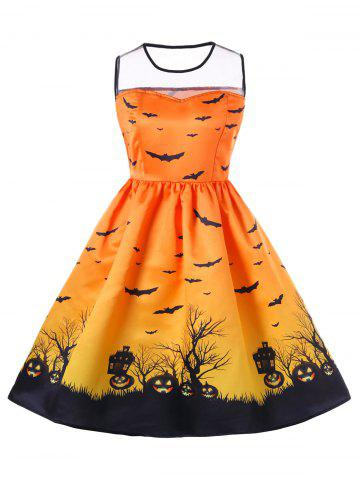 Buy Halloween Mesh Panel Plus Size A Line Skater Dress