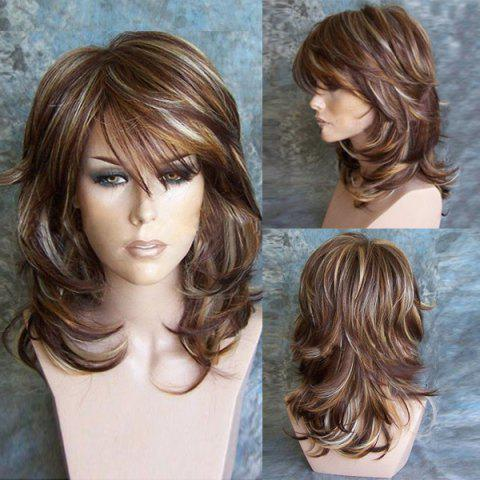 Cheap Medium Inclined Bang Highlighted Layered Slightly Curled Synthetic Wig