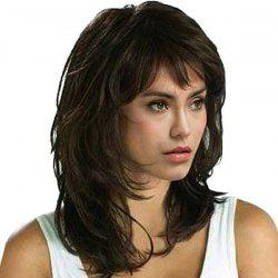 Medium Side Fringe Fluffy Natural Straight Synthetic Wig - BROWN