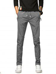 Zip Up Pockets Drawstring Pants -