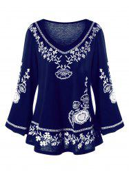 Plus Size Monochrome Floral Bell Sleeve Top -