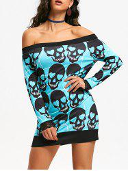 Off The Shoulder Skull Print Halloween Mini Dress - BLUE GREEN 2XL