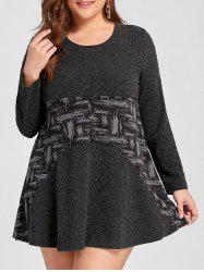 Contraste Plus Size Mini A Line Dress - Noir 4XL