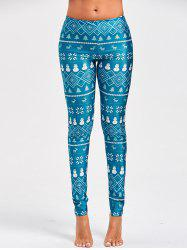 Christmas Snowman Elk Printed Leggings -