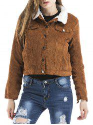 Button Down Cropped Suede Jacket -