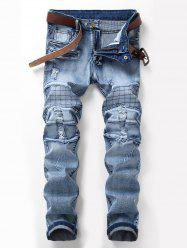 Zip Fly Checked Distressed Jeans - Bleu clair 32