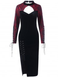 Halloween Spider Lace Inset Velvet Slit Dress -