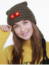 Small Flower Knit Christmas Hat with Long Tail -