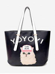 Print Letter Cat Shoulder Bag -