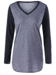 Two Tone V Neck Top -