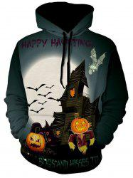 Pumpkin and Bat Print Halloween Hoodie -