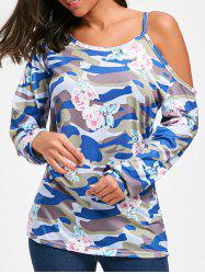 Long Sleeve Floral and Camo Print Top -