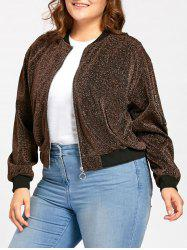 Plus Size Zip Up Sparkly  Bomber Jacket -