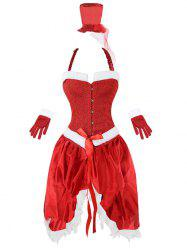Faux Fur Trim Christmas Costume Outfits - Rouge L