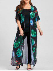 Plus Size Tropical Print High Slit Maxi Collarless Top - GREEN XL