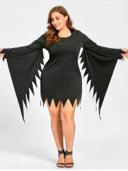 Plus Size Halloween Serrated Sleeve Hooded Dress -