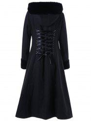 Hooded Longline Lace Up Coat -
