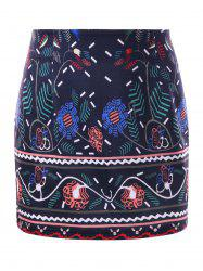 Graphic Bodycon Micro Skirt - DEEP BLUE L