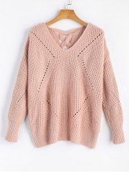 V Neck Criss Cross Sheer Sweater - PINK ONE SIZE