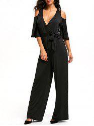 Cold Shoulder Low Cut Surplice Jumpsuit - BLACK S