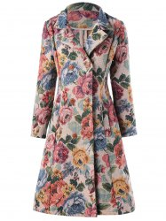 A-line Double-breasted Floral Trench Coat -