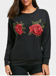 Flower Embroidered Crew Neck Sweatshirt -