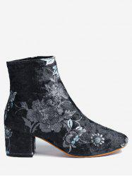 Ankle Chunky Heel Floral Boots -